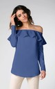 Off Shoulder Top with Frill and Long Sleeves in Blue by Bergamo