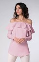 Off Shoulder Top with Frill and Long Sleeves in Pink by Bergamo