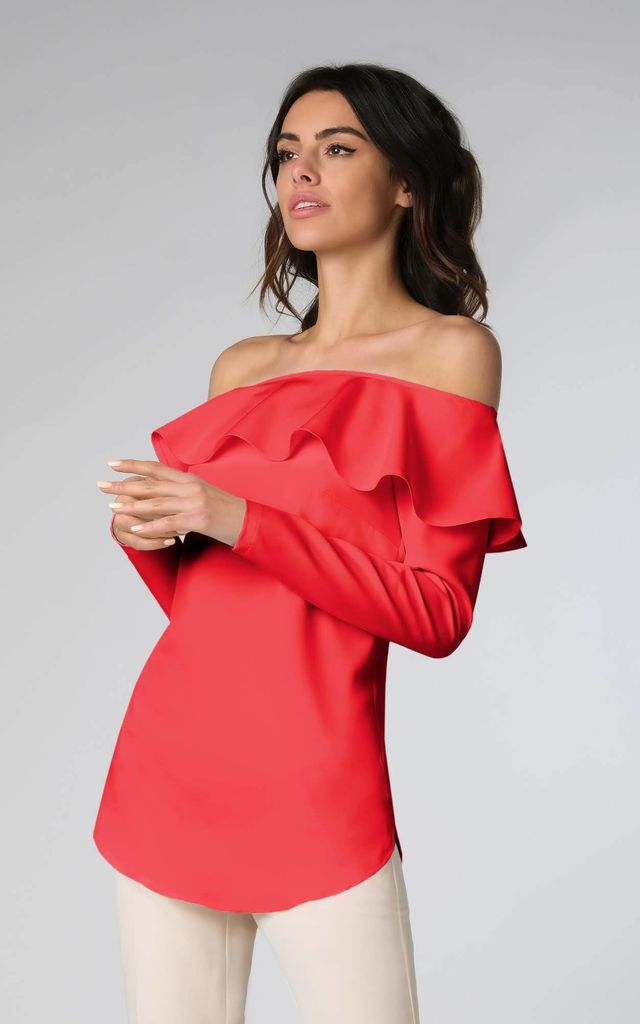 Off Shoulder Top with Frill and Long Sleeves in Red by Bergamo