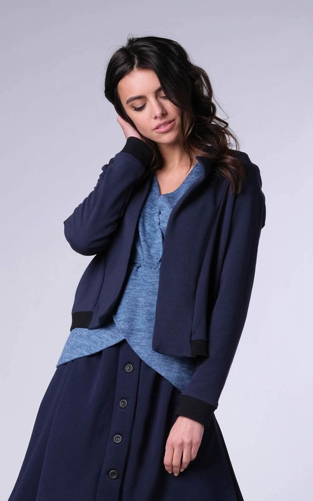 Bomber Jacket with Open Front in Navy by Bergamo