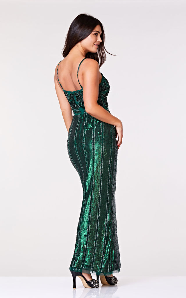 Edna Embellished Occasion Maxi Dress in Green by Gatsbylady London