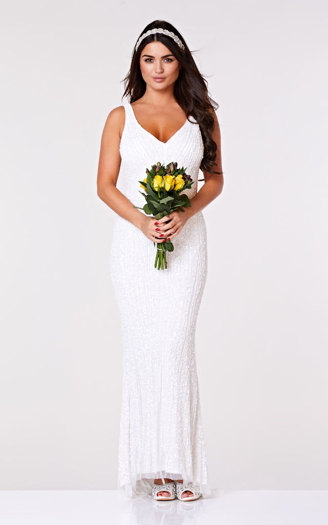 Sophie Embellished Maxi Wedding Dress in White by Gatsbylady London