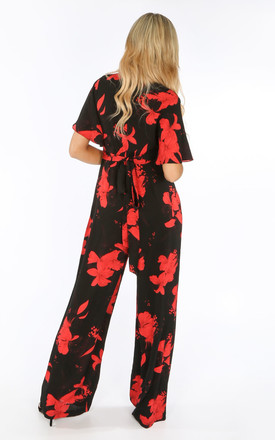 Black Floral print Jumpsuit by Dressed In Lucy