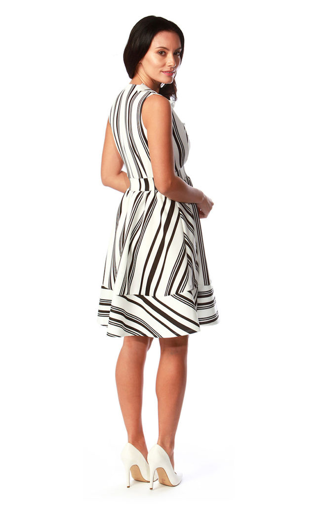 Sarina Skater Dress in Black and White by Want That Trend