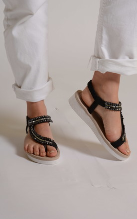 Black sequin sandals by Bond Street Shoe Company