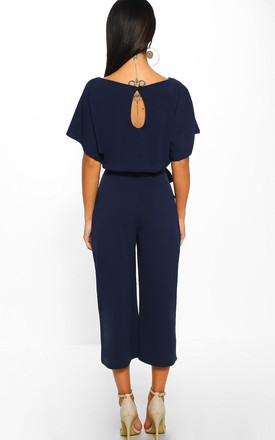 Always Chic Navy Belted Culotte Jumpsuit by Pink Boutique