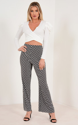 Plisse High Waisted Wide Leg Trousers in White Polka Dot by Premier Glam