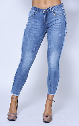 Mid Wash Side Fringe Skinny Jean by Off The Railz