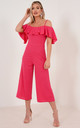 Off Shoulder Frill Culotte Jumpsuit in Hot Pink by Premier Glam