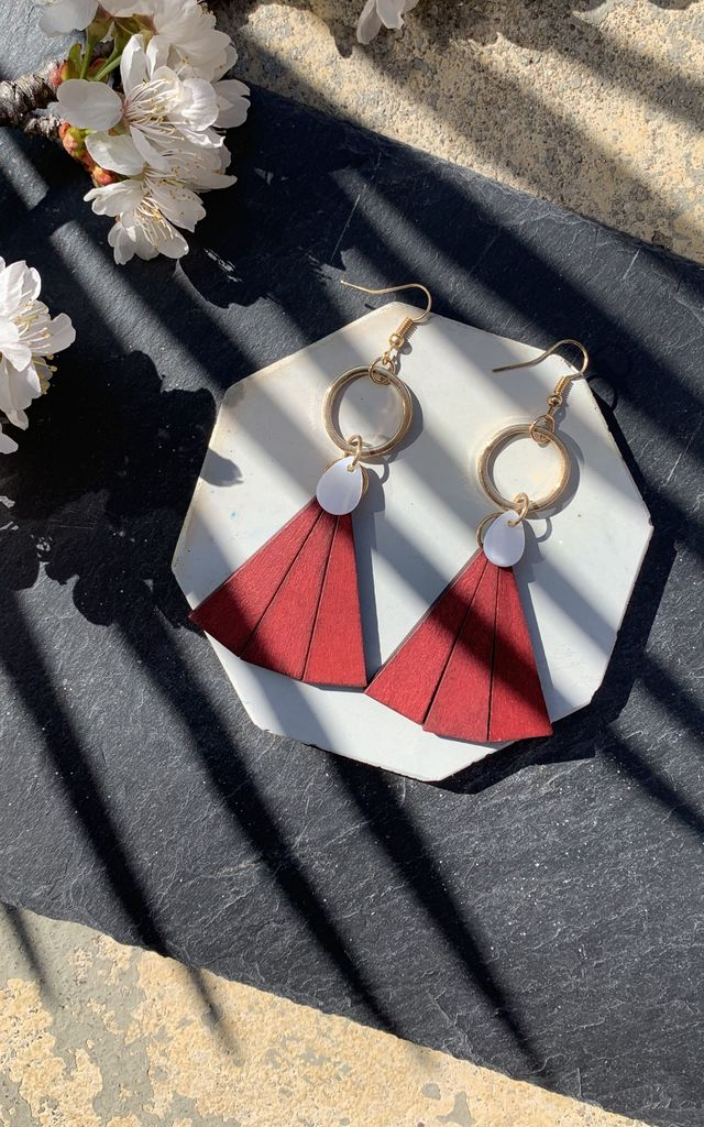 Triangle Drop Earrings in Wood and Mother of Pearl by Xander Kostroma