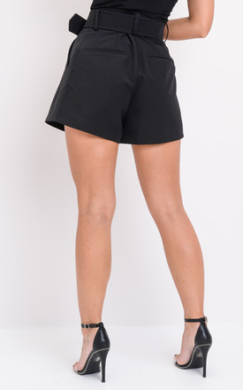 High waisted belted tailored shorts black by LILY LULU FASHION