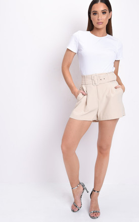 High Waisted Belted Tailored Shorts Beige by LILY LULU FASHION Product photo