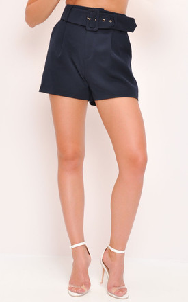 High waisted belted tailored shorts navy blue by LILY LULU FASHION