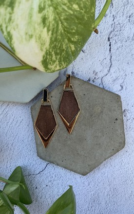 Gold Plated Triangle Drop Wooden Earrings by Xander Kostroma