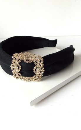 Crystal Buckle Hairband in Black by Olivia Divine Jewellery