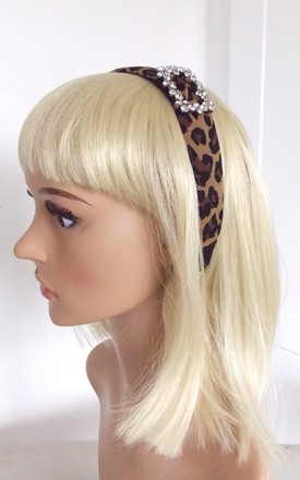 Jewelled Buckle Hairband in Leopard Print by Olivia Divine Jewellery