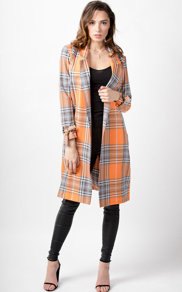Willow Orange Check Long Jacket by Love