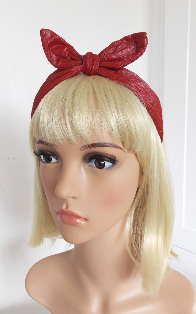 Leatherette Bunny Ears Hairband in Red by Olivia Divine Jewellery