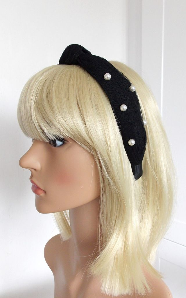 Turban Knot Style Hairband with Pearl Beads in Black by Olivia Divine Jewellery