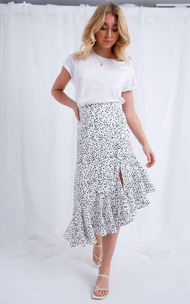 Zana Asymmetric Midi Skirt - Polka Dot by Pretty Lavish