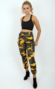 Yellow Camo Cargo Printed Side Pockets High Waisted Trousers Pants by MISSTRUTH
