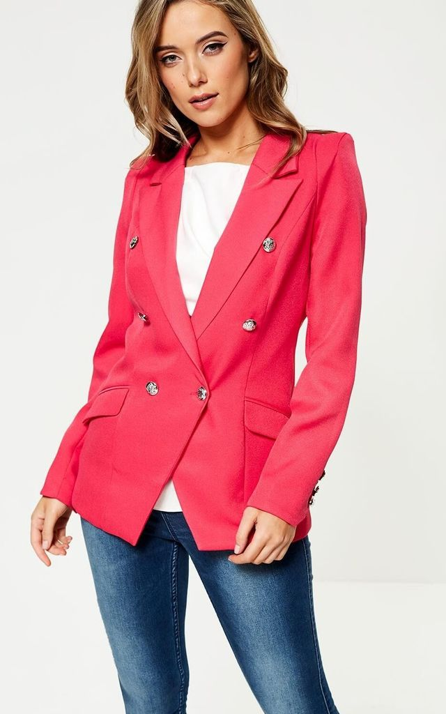 Military Blazer in Cerise by Marc Angelo
