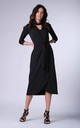Wrap Maxi Dress with 3/4 Sleeves and Choker in Black by Bergamo