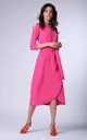 Wrap Maxi Dress with 3/4 Sleeves and Choker in Pink by Bergamo