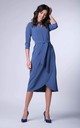 Wrap Maxi Dress with 3/4 Sleeves and Choker in Blue by Bergamo