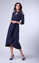 Wrap Maxi Dress with 3/4 Sleeves and Choker in Navy by Bergamo