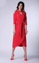 Wrap Maxi Dress with 3/4 Sleeves and Choker in Red by Bergamo