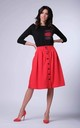 Loose Midi Skirt with High Waist and Pockets in Red by Bergamo