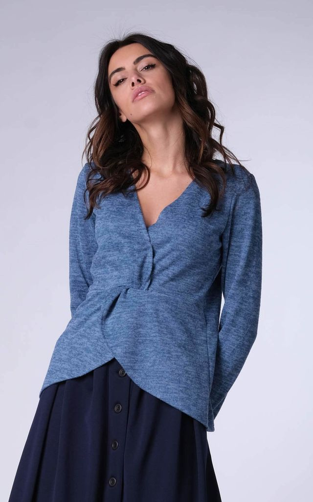 Wrap Sweater with Long Sleeves in Blue by Bergamo