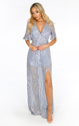 Sequin Maxi Dress With Split in Blue by Dressed In Lucy