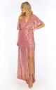 Pink Sequin Maxi Dress With Split by Dressed In Lucy