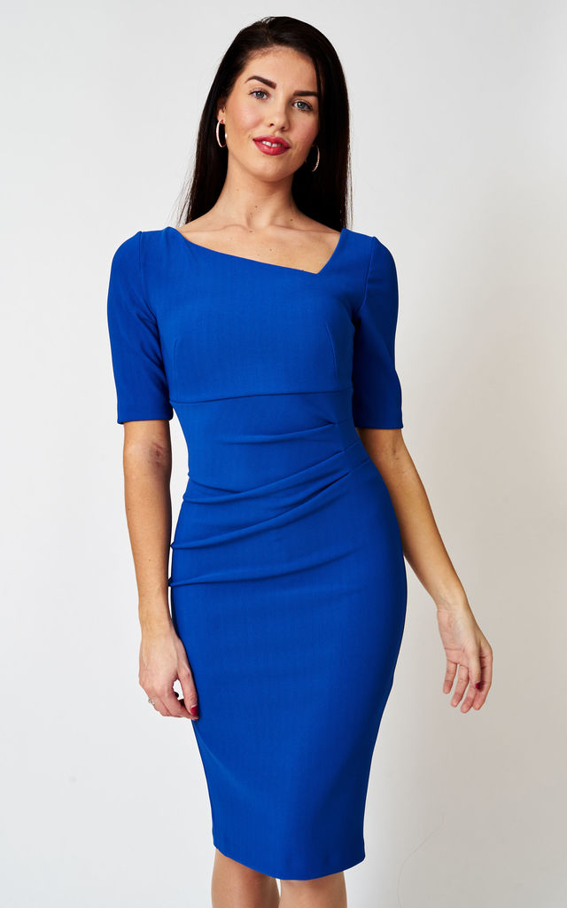 The London Asymmetrical Stretch Bodycon Dress in Cobalt Blue by Off the Catwalk