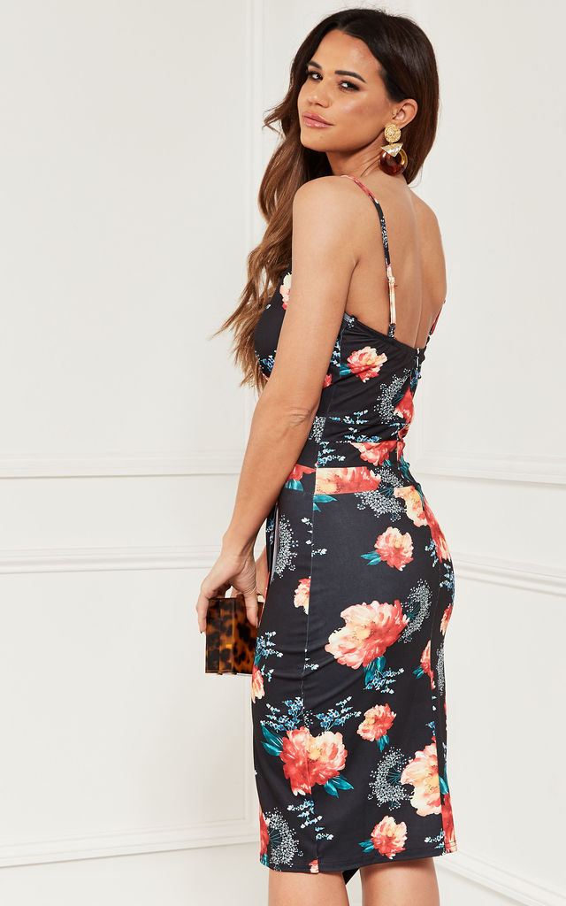 Bodycon Midi Wrap Dress in black floral by Bella and Blue