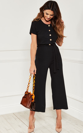 Short Sleeve Button front Jumpsuit in black by Bella and Blue