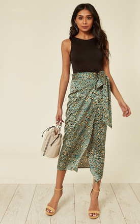 Satin Mint Green And Yellow Leopard Print Midi Wrap Skirt by D.Anna Product photo