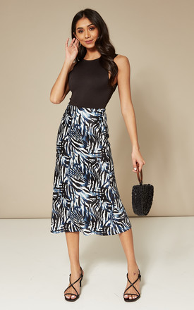 Blue Printed Midi Slip Skirt by India Gray Product photo