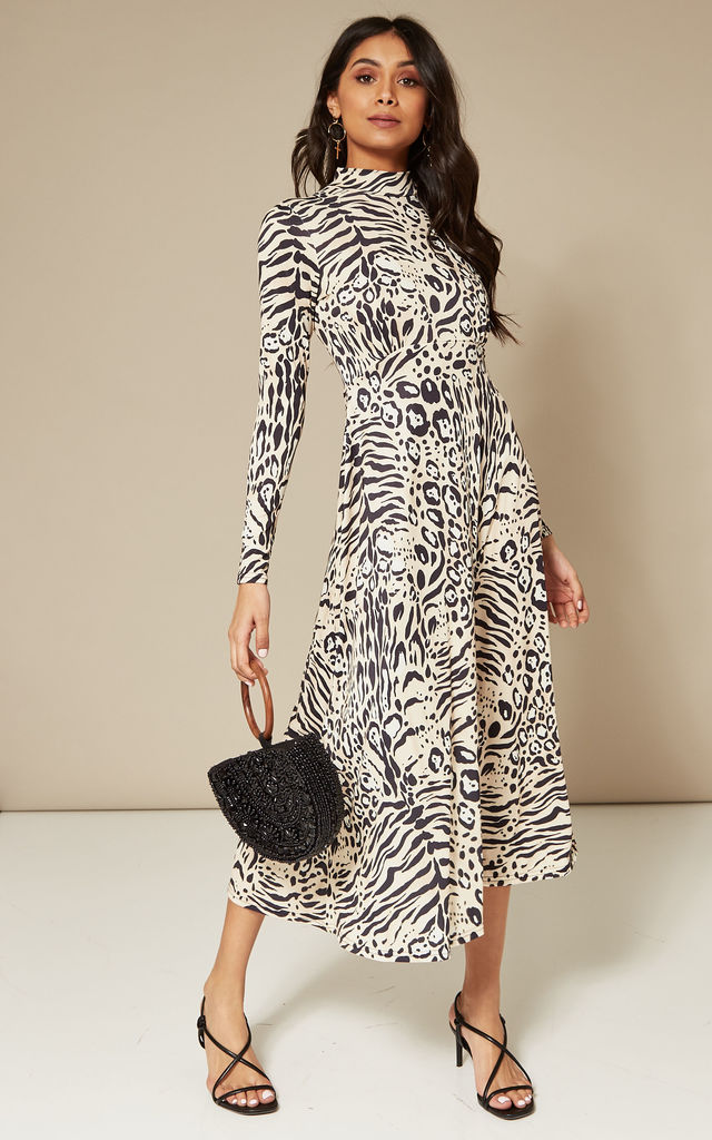 912890382768 High Neck A-Line Midi Dress in Mixed Animal Print by India Gray