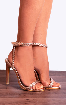 Strappy Barely There High Heel Stilettos With Metallic Ankle Strap Rope In Rose Gold by Shoe Closet Product photo