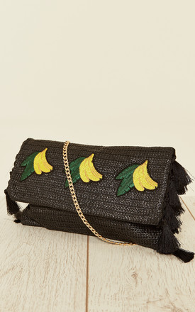 Sheila Woven Clutch Bag with Tassels and Banana Design in Black by Collectif Clothing