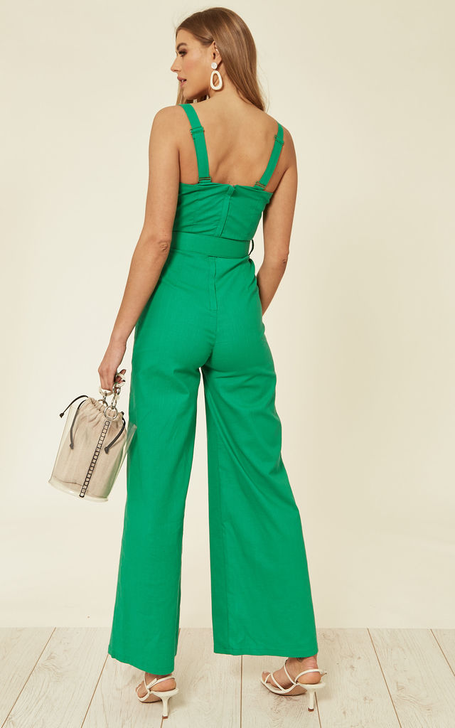 Olympia Belted Palazzo Jumpsuit in Kelly Green by Collectif Clothing