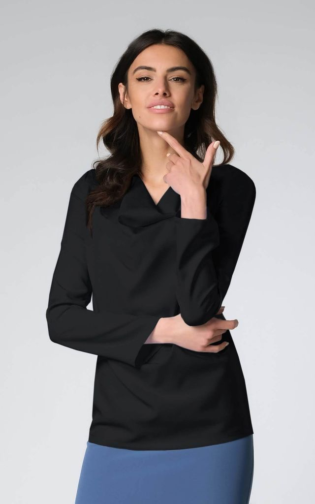 Long Sleeve Top with Cowl Neck in Black by Bergamo