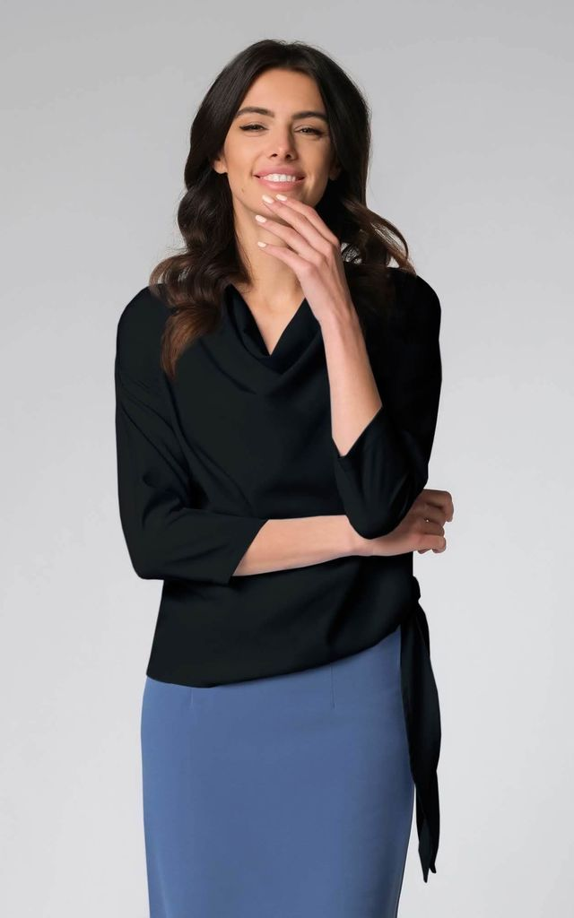 Asymmetric Top Tied on the Side in Black by Bergamo