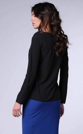 Long Sleeve Top with V-Neckline in Black by Bergamo