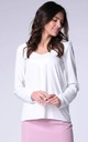 Long Sleeve Top with V-Neckline in White by Bergamo