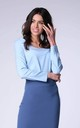 Long Sleeve Top with V-Neckline in Blue by Bergamo