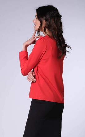 Long Sleeve Top with V-Neckline in Red by Bergamo